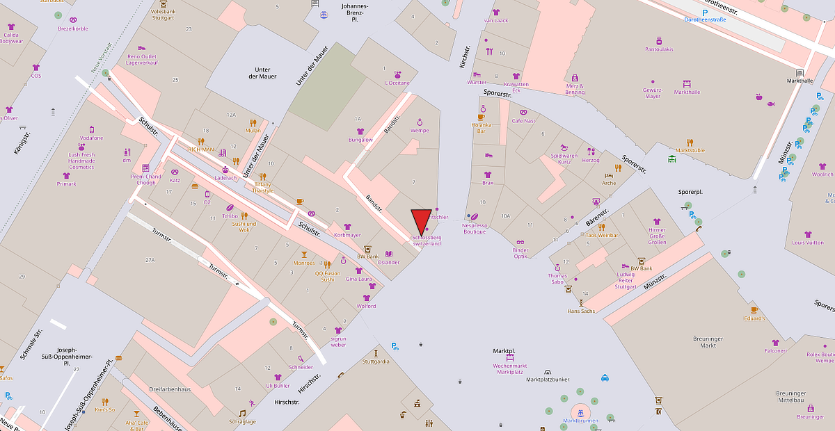 Karte vom Standort der Safe Lounge in Stuttgart am Marktplatz.